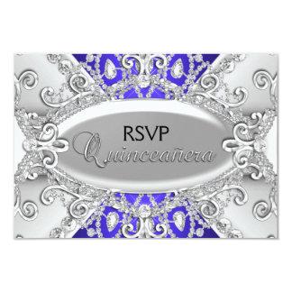 Silver & Blue Diamond Damask Quinceanera RSVP 9 Cm X 13 Cm Invitation Card