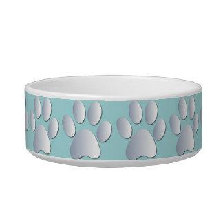 Silver blue pawprints beautiful pet cat bowl, gift pet water bowls