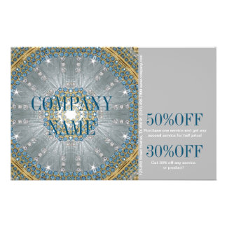 silver blue sparkles fashion beauty salon girly 14 cm x 21.5 cm flyer