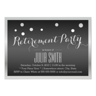 Silver Border Confetti Dots Dark Retirement Party Card