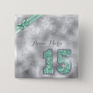 Silver Brocade Fifteenth Birthday Mint Green ID382 15 Cm Square Badge