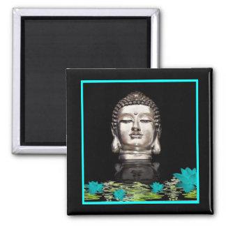 Silver Buddha Head Statue Square Magnet