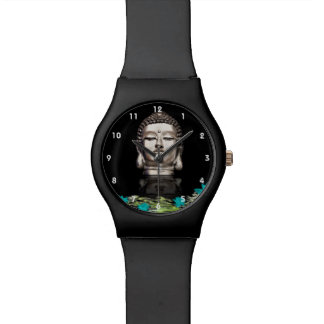 Silver Buddha Head Statue Wristwatches