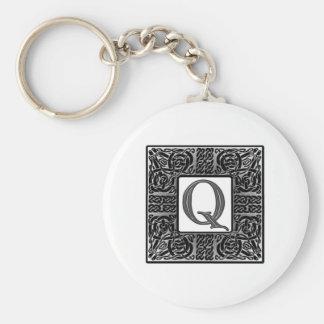 """Silver Celtic """"Q"""" Monogram Key Ring"""
