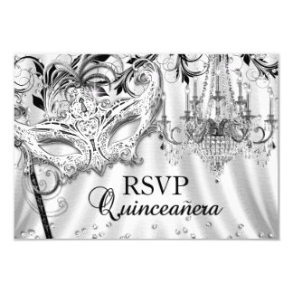 Silver Chandelier Masquerade Quinceanera RSVP Card