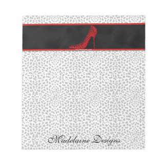 Silver Cheetah Print with Black and Red Notepad