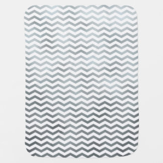 Silver Chevron Metallic Faux Foil Pattern Texture Receiving Blankets