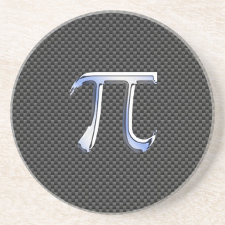 Silver Chrome Like Pi Symbol on Carbon Fiber Coaster