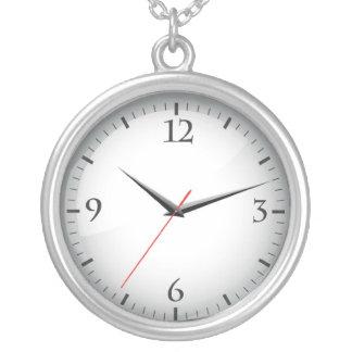 Silver Clock Necklace