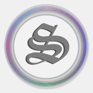 Silver Cloister S Monogram Round Sticker