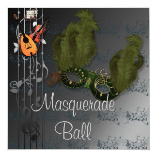 Silver Colors Masquerade Ball Invitation