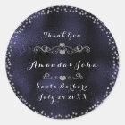 Silver Confetti Glitter Thank You Blue Navy Classic Round Sticker