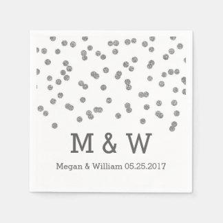 Silver Confetti Wedding Monogram Paper Napkin