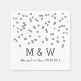 Silver Confetti Wedding Monogram Paper Napkins