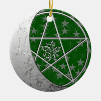 Silver Crescent Moon & Pentacle #4 Christmas Ornament