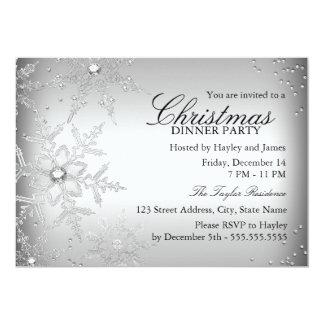 Silver Crystal Snowflake Christmas Dinner Party 13 Cm X 18 Cm Invitation Card