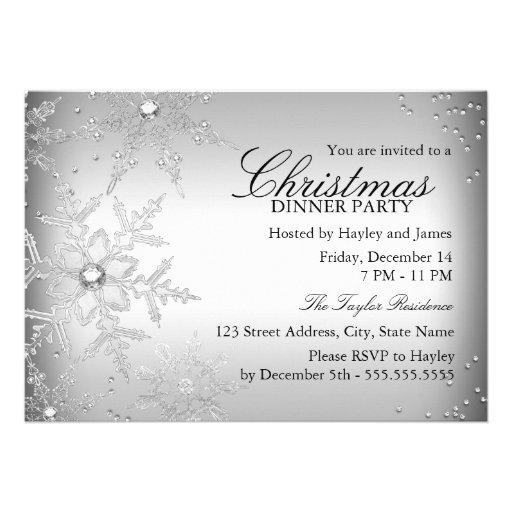 Silver Crystal Snowflake Christmas Dinner Party Invite