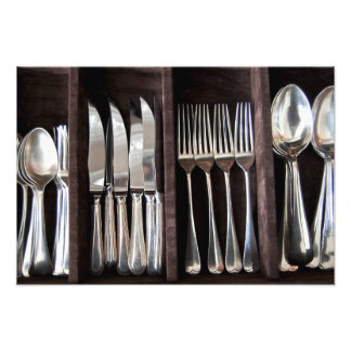 Silver Cutlery in Draw Photography Poster