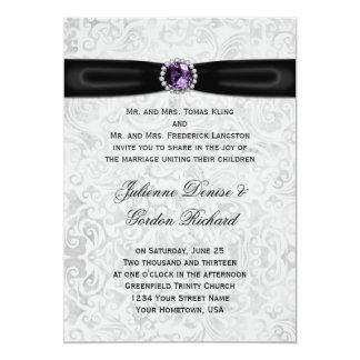 Silver Damask Black Ribbon Purple Jewel Wedding 13 Cm X 18 Cm Invitation Card