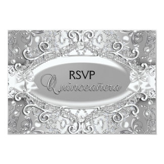 """Silver Damask Pearl Quinceanera RSVP 3.5"""" X 5"""" Invitation Card"""