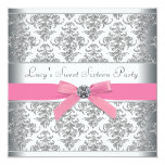 Silver Damask Pink Sweet Sixteen Birthday Party 13 Cm X 13 Cm Square Invitation Card