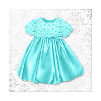 Silver Damask Teal Blue Dress Baby Girl Canvas Print