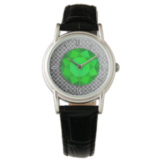 Silver Damask with an emerald gem / jewell Watch