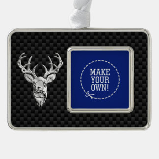 Silver Deer Cameo on Carbon Fiber Style Print Silver Plated Framed Ornament