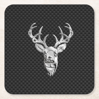 Silver Deer Head in Carbon Fiber Style Square Paper Coaster