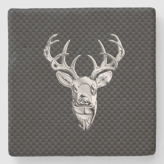 Silver Deer Head in Carbon Fiber Style Stone Coaster