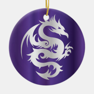 Silver Dragon on Imperial Purple Christmas Ornament