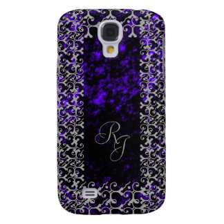 Silver Elegance Black and Violet Monogrammed Galaxy S4 Case