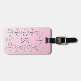 Silver Elegance Pink Personalized Luggage Tag