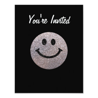 Silver faux glitter smiley face card