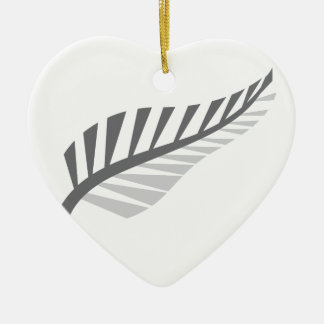 Silver Fern Awesome New Zealand image Ceramic Heart Decoration