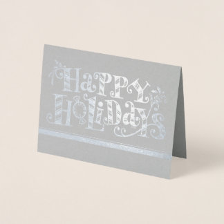 Silver Foil Happy Holidays Business Card