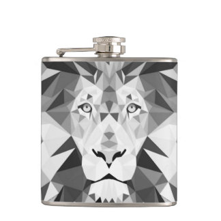 Silver Geometric Lions Head Hip Flask