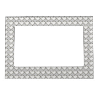 Silver glass heart pattern frame magnet