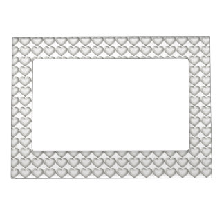 Silver glass heart pattern picture frame magnets