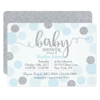 Silver Glitter and Blue Scattered Dots Baby Shower Card