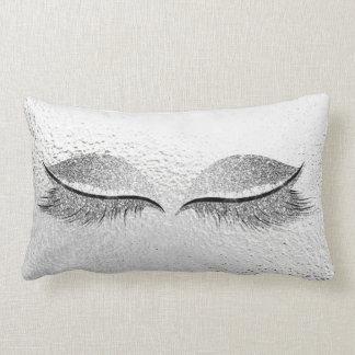 Silver Glitter Black Glam Makeup Lashes Grey Lumbar Pillow