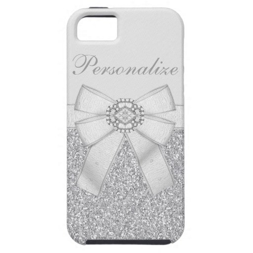 Silver Glitter & Diamond Bling iPhone 5 Case