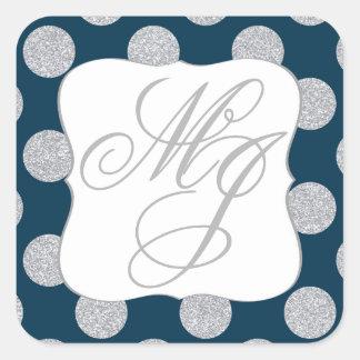 Silver Glitter Dots Navy Blue Monogram Label Square Sticker