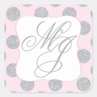 Silver Glitter Dots Pink Monogram Label Square Sticker