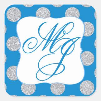 Silver Glitter Dots Royal Blue Monogram Label Square Sticker