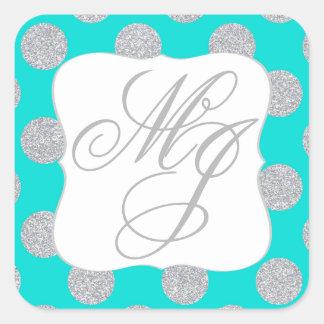 Silver Glitter Dots Turquoise Monogram Label Square Sticker