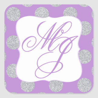Silver Glitter Dots Violet Monogram Label Square Sticker