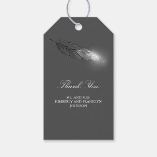 Silver Glitter Feather Elegant Wedding Gift Tags
