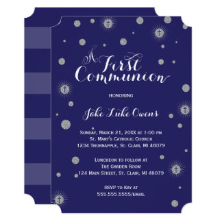 Silver Glitter First Communion Invitation