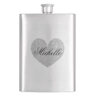 Silver glitter heart monogram hip flask for women